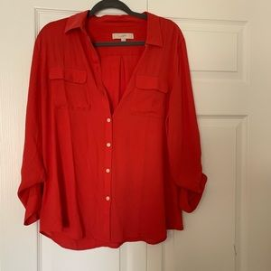 LOFT long sleeve button up blouse